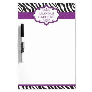 Zebra Purple Ribbon Dry Erase Board
