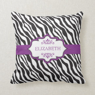 Zebra Purple Ribbon MoJo Pillow