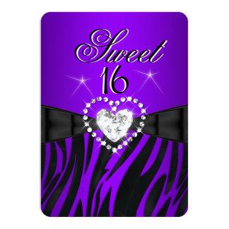 Zebra Purple Sweet 16 Sixteen Birthday Party 2 Invites