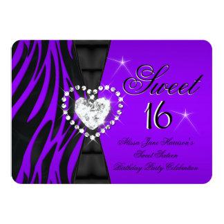 Zebra Purple Sweet 16 Sixteen Birthday Party 4.5x6.25 Paper Invitation Card