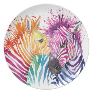 Zebra Rainbow Plate