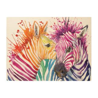 Zebra Rainbow Wood Wall Art