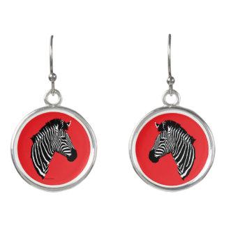 """""""Zebra"""" Red Drop Earrings"""