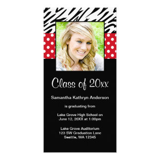 Zebra Red Polka Dot Graduation Announcement Customised Photo Card