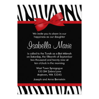 Zebra Red Printed Bow Bat Mitzvah Invitations Custom Announcement