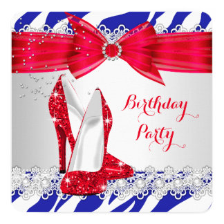 Zebra Red White Blue Heel Lace Pearl Birthday 13 Cm X 13 Cm Square Invitation Card