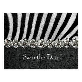 Zebra Rhinestone Black Leather Save the Date Postcard