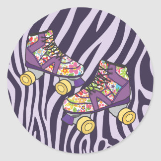 Zebra Roller Skate Roller Skating Party Sticker