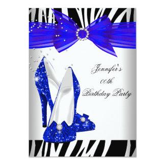Zebra Royal Blue High Heel Black Birthday Party Invite