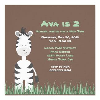 Zebra Safari Invitation or Thank You Note