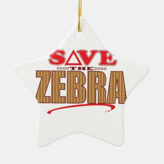Zebra Save Christmas Ornament