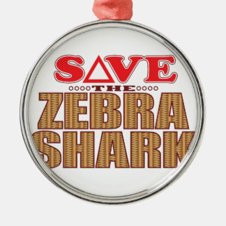 Zebra Shark Save Christmas Ornament