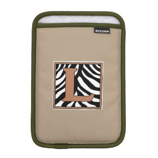 Zebra Skin L Monogrammed iPad Mini Sleeve