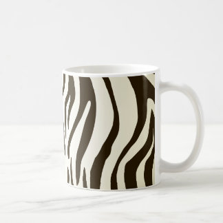 Zebra skin print stripes pattern basic white mug