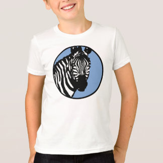zebra. slate blue circle. T-Shirt