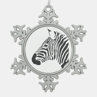 ZEBRA SNOWFLAKE PEWTER CHRISTMAS ORNAMENT