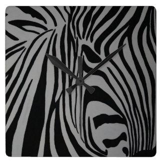 zebra square wall clock
