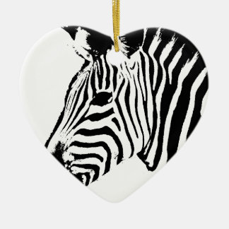 Zebra Stencil Ceramic Heart Decoration