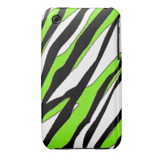 Zebra Stripe and Lime Green Stripes Case-Mate iPhone 3 Case