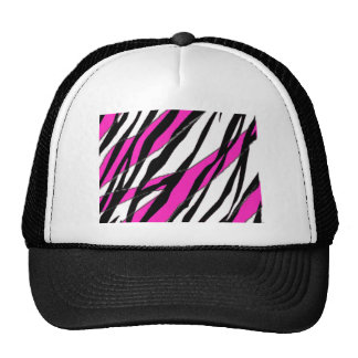 Zebra Stripe and  Neon Pink Abstract Stripes Cap