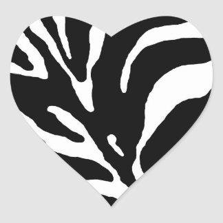 Zebra Stripe Animal Print Heart Sticker