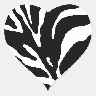 Zebra Stripe Animal Print Heart Sticker
