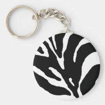 Zebra Stripe Animal Print Basic Round Button Key Ring