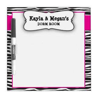 Zebra stripe dorm room dry erase white board