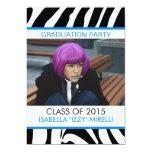 Zebra Stripe Graduation Party Invitation Blue 13 Cm X 18 Cm Invitation Card
