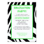 Zebra Stripe Graduation Party Invitation Green 13 Cm X 18 Cm Invitation Card