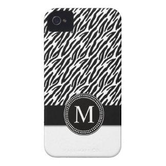 Zebra Stripe Pattern iPhone 4 Case-Mate Monogram