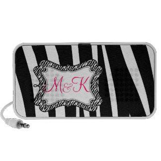 Zebra Stripe Pattern Monograms Wedding Favor iPod Speaker