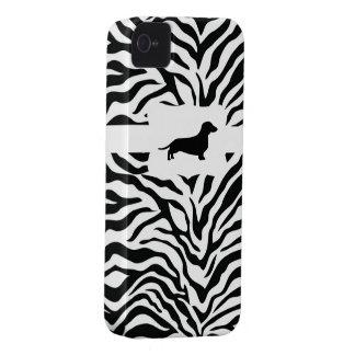 Zebra Stripe w/Dachshund iPhone 4 Case