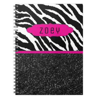 Zebra Stripe w/Glitter  Pink Personalized Notebook