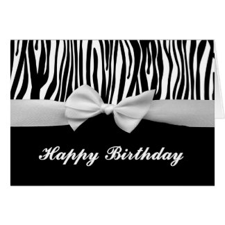 Zebra stripe & white ribbon graphic Happy Birthday Greeting Card