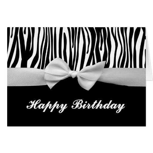 Zebra stripe & white ribbon graphic Happy Birthday Greeting Card