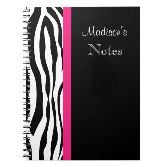 Zebra Stripe with Pink Personalised Notebook