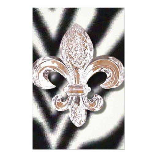 Zebra Striped Fleur De Lis Crystal New Orleans Customized Stationery