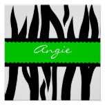 Zebra Striped Pattern Personalised Name Poster