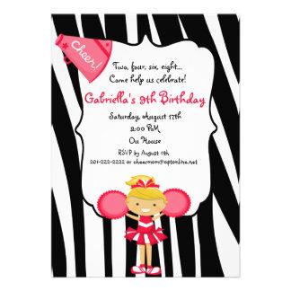 Zebra Striped Red Cheerleader Birthday Invite