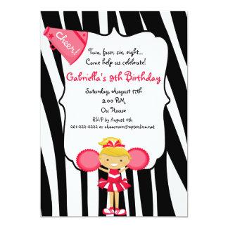 "Zebra Striped Red Cheerleader Birthday Invite 5"" X 7"" Invitation Card"