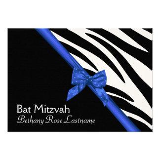 Zebra Stripes and Blue Ribbon Bat Mitzvah Announcement