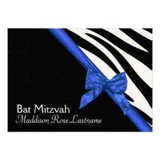 Zebra Stripes and Electric Blue Ribbon Bat Mitzvah Custom Invitation