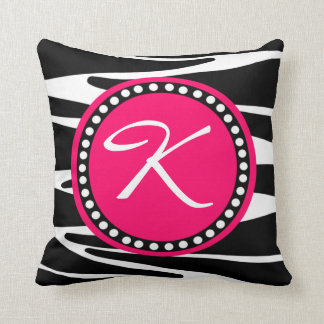 Zebra Stripes and Hot Pink Circle Initial Monogram Cushion