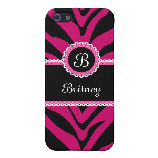 Zebra Stripes and Lace Monogram Pink iPhone 5/5S Cases
