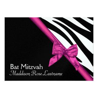 Zebra Stripes and Pink Ribbon Bat Mitzvah Invitation