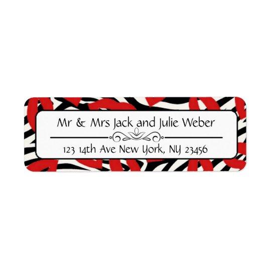 Zebra Stripes and Red Lips Return Address Stickers