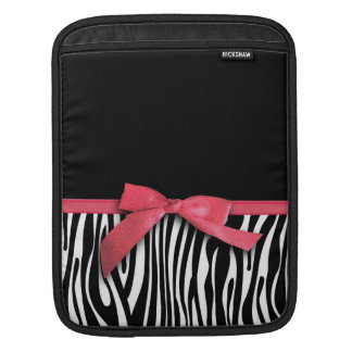 Zebra stripes and red ribbon graphic iPad sleeve