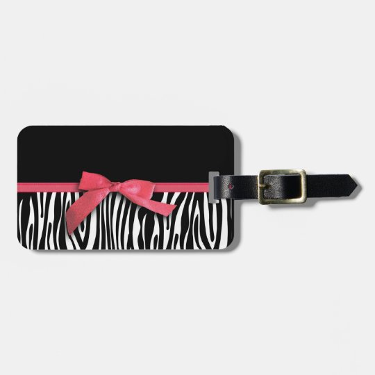 Zebra stripes and red ribbon graphic luggage tag