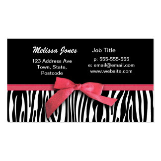 Zebra stripes and red ribbon graphic pack of standard business cards